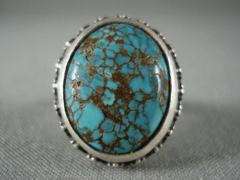 Museum Vintage Navajo Spiderweb Turquoise Native American Jewelry Silver Ring-Nativo Arts