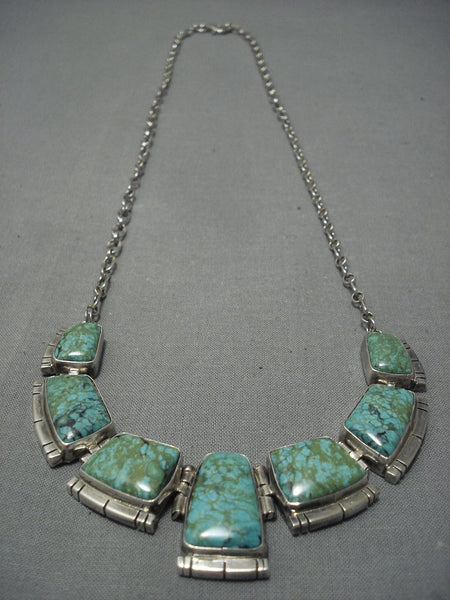 Museum Vintage Navajo Squared Green Turquoise Sterling Native American Jewelry Silver Necklace Old