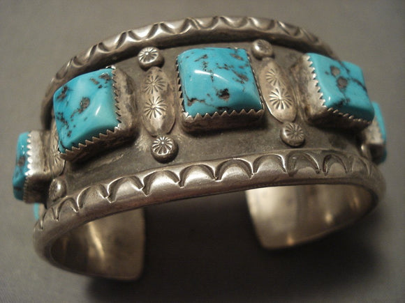Museum Vintage Navajo 'Squared Natural Turquoise' Native American Jewelry Silver Bracelet-Nativo Arts