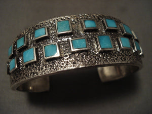 Museum Vintage Navajo 'Squared Turquoise' Native American Jewelry Silver Bracelet-Nativo Arts