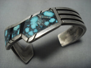 Museum Vintage Navajo Thick Heavy Blue Wind Turquoise Sterling Native American Jewelry Silver Bracelet-Nativo Arts