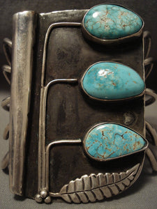 Museum Vintage Navajo 'Tree Of Life' Turquoise Native American Jewelry Silver Bracelet Old-Nativo Arts
