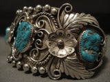Museum Vintage Navajo 'Turquoise Garden' Native American Jewelry Silver Bracelet Old-Nativo Arts
