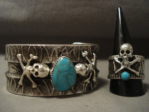 Museum Vintage Navajo Turquoise Native American Jewelry Silver Bracelet Ring Set-Nativo Arts