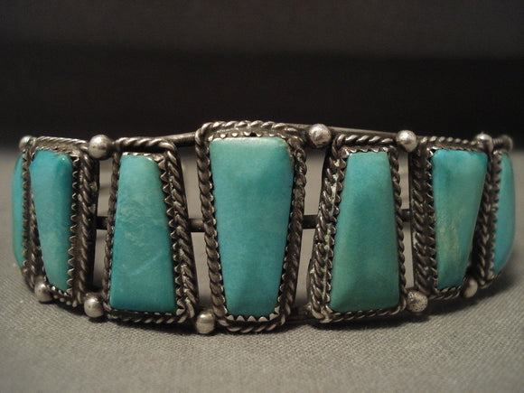 Museum Vintage Navajo Turquoise Native American Jewelry Silver Bracelet-Nativo Arts