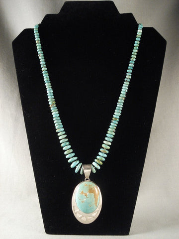 Museum Vintage Navajo Turquoise Native American Jewelry Silver Necklace-Nativo Arts
