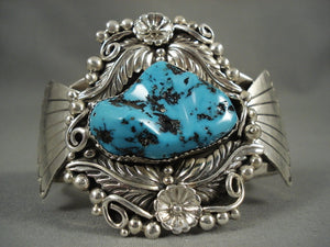 Museum Vintage Navajo 'Turquoise Pond' Native American Jewelry Silver Leaf Bracelet Old-Nativo Arts