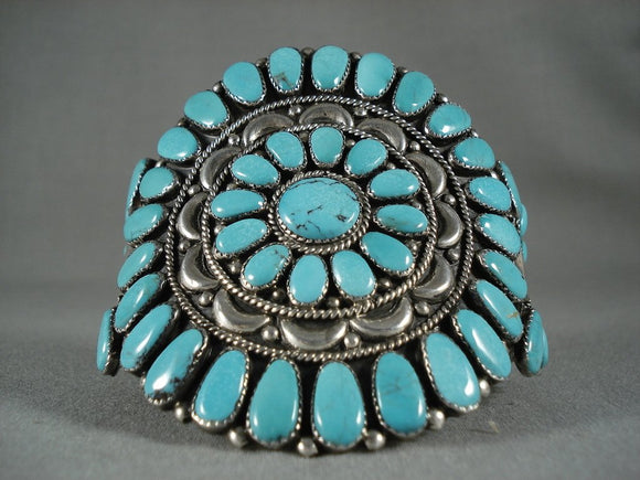 Museum Vintage Navajo Wave Turquoise Native American Jewelry Silver Bracelet-Nativo Arts