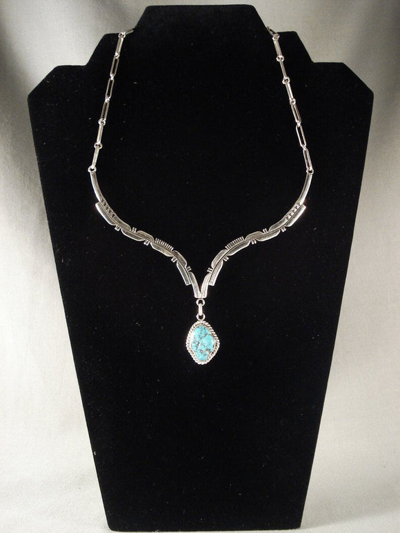 Museum Vintage Navajo Yazzie Turquoise Native American Jewelry Silver Necklace-Nativo Arts