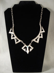Museum Vintage Navajo zig Zag Turquoise Native American Jewelry Silver Necklace-Nativo Arts