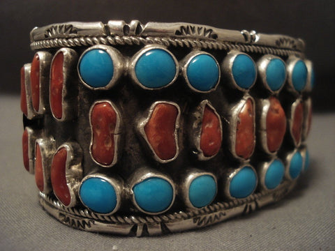 Museum Vintage Old Turquoise Coral Native American Jewelry Silver Bracelet Olg Vtg Sterling-Nativo Arts