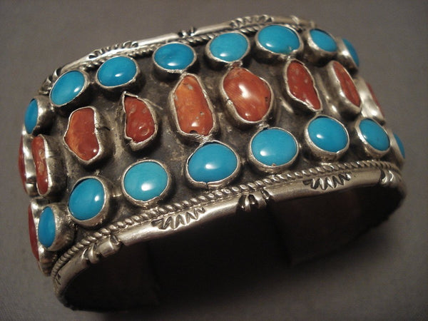 Museum Vintage Old Turquoise Coral Native American Jewelry Silver Bracelet Olg Vtg Sterling