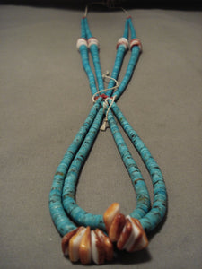Museum Vintage Santo Domingo 'Increasing Turquoise' Spiny Oyster Necklace-Nativo Arts