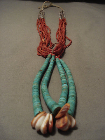 Museum Vintage Santo Domingo/ Navajo Native American Jewelry jewelry Real Coral Turquoise Necklace Old-Nativo Arts