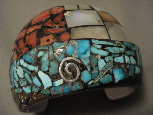 Museum Vintage Santo Domingo/ Navajo Turquoise Coral Native American Jewelry Silver Bracelet-Nativo Arts