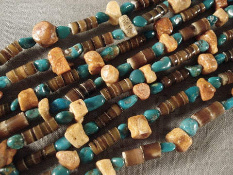 Museum Vintage Santo Domingo Necklace Old Turquoise Coral Vtg-Nativo Arts