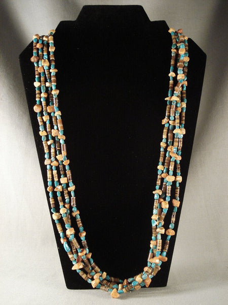 Museum Vintage Santo Domingo Necklace Old Turquoise Coral Vtg