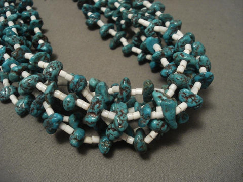 Museum Vintage Santo Domingo Offset Arrowhead Coral Turquoise Necklace-Nativo Arts