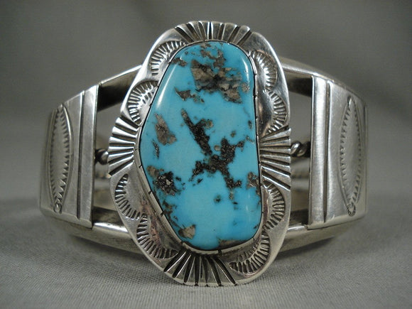 Museum Vintage Santo Domingo Persian Turquoise Native American Jewelry Silver Bracelet Old-Nativo Arts