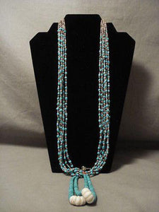 MUSEUM VINTAGE SANTO DOMINGO TURQUOISE JACLA NECKLACE OLD-Nativo Arts