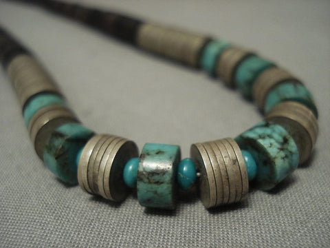 Museum Vintage Santo Domingo Turquoise silver Disc Necklace Old Vtg-Nativo Arts