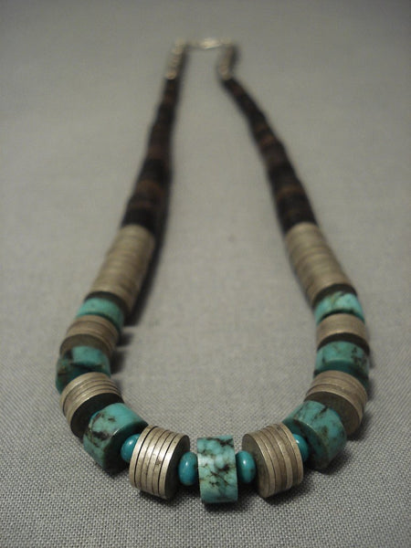 Museum Vintage Santo Domingo Turquoise silver Disc Necklace Old Vtg