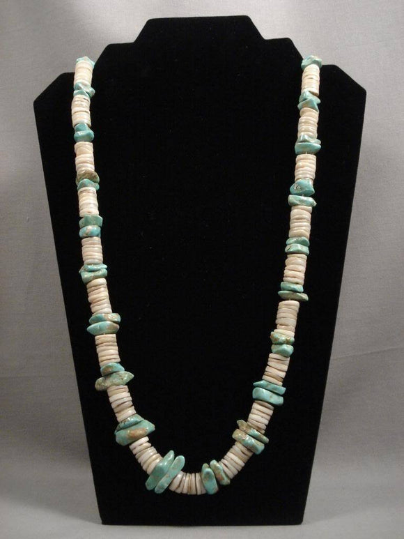 Museum Vintage Santo Domingo Wide Turquoise Shell Necklace-Nativo Arts