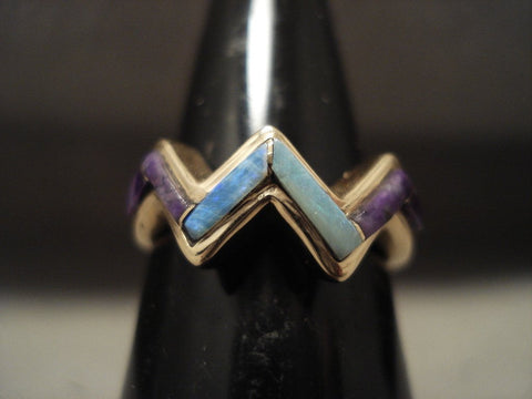 Museum Vintage Sdolid 14k Gold Real Opal And Charioite Ring Old-Nativo Arts