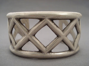 Museum Vintage ' X Marks The Spot' Native American Jewelry Silver Bracelet-Nativo Arts