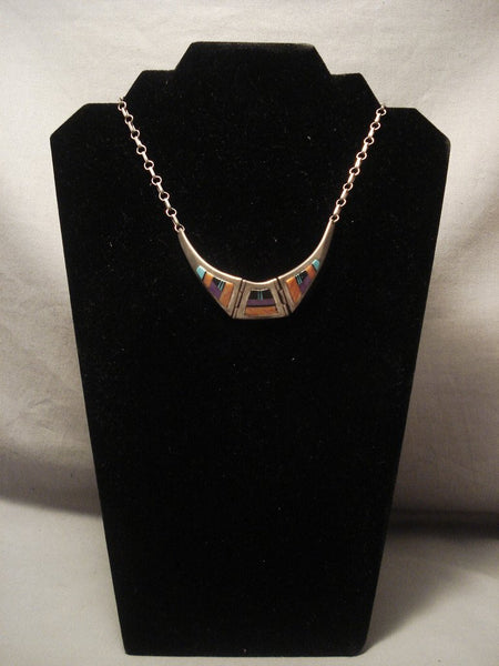Museum Vintage Zuni flying Wings Turquoise Native American Jewelry Silver Necklace Old Vtg Native American Jewelry Silver