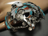 Museum Vintage Zuni Native American Eagle Turquoise Sterling Silver Bracelet-Nativo Arts