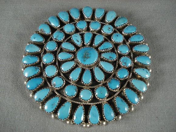Museum Vintage Zuni Natural Turquoise Old Native American Jewelry Silver Pin-Nativo Arts
