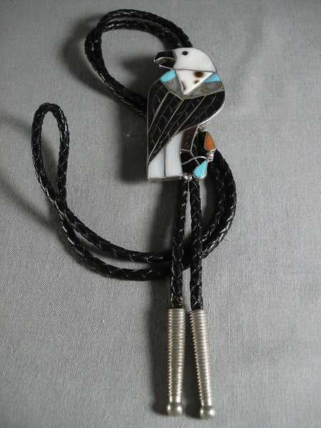 Museum Vintage Zuni/ Navajo Turquoise Eagle Sterling Native American Jewelry Silver Bolo Tie Old-Nativo Arts