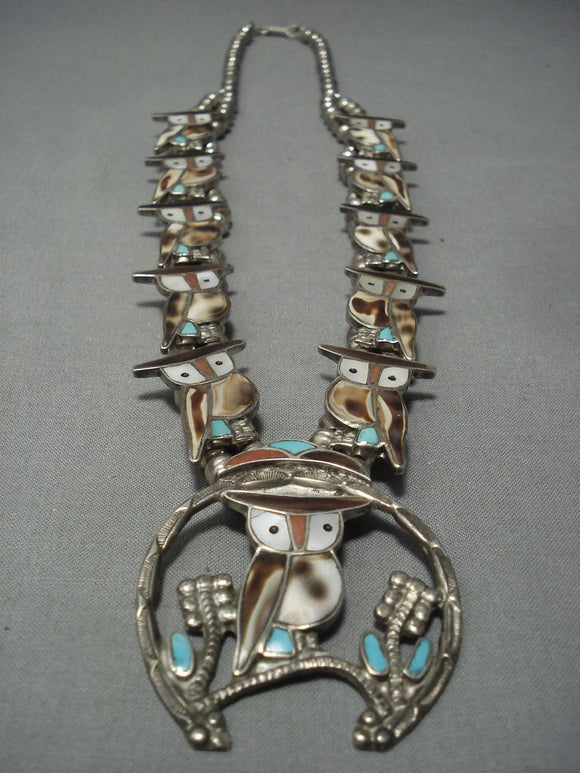 Museum Vintage Zuni Turquoise Coral Sterling Native American Jewelry Silver Squash Blossom Necklace Old-Nativo Arts