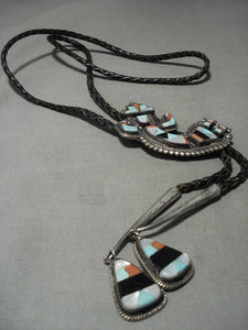 Museum Vintage Zuni Turquoise Kachina Native American Jewelry Silver Bolo Tie Old-Nativo Arts