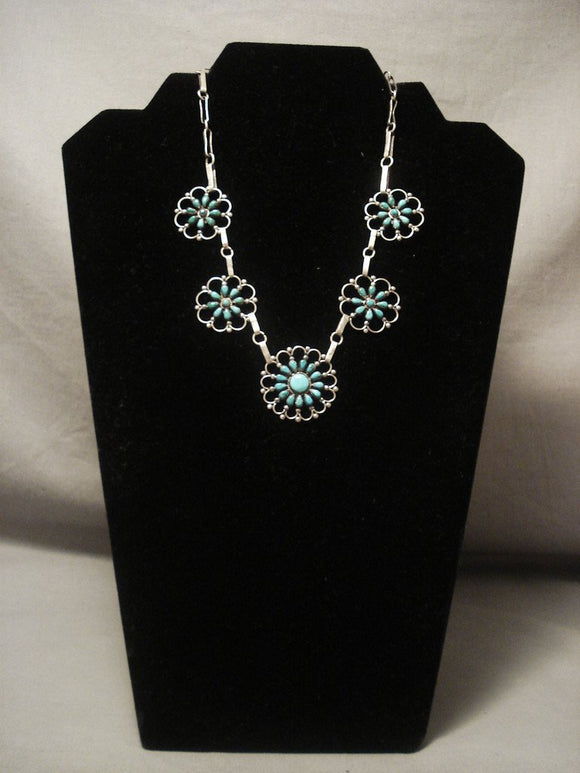 Museum Vintage Zuni wagonwheel Turquoise Native American Jewelry Silver Necklace Old Vtg-Nativo Arts
