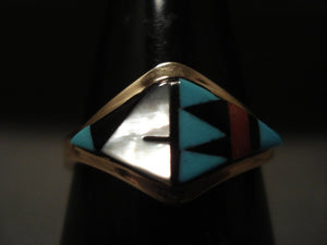 Museum Vintage Zuni 'Wide Solid 14k Gold' Turquoise Ring Old-Nativo Arts