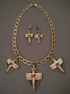 Museum Vintage Zuni Zygoptera Dragonfly Coral Native American Jewelry Silver Necklace-Nativo Arts