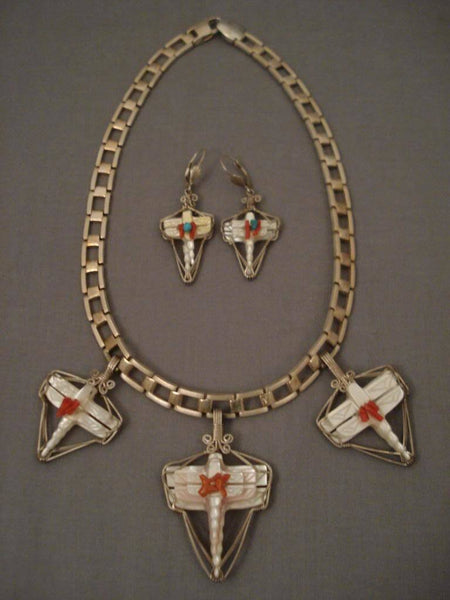 Museum Vintage Zuni Zygoptera Dragonfly Coral Native American Jewelry Silver Necklace
