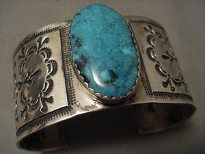 Museum Wide Vintage Navajo 'Native American Jewelry Silver Cloud' Blue Diamond Turquoise Native American Jewelry Silver Bracelet-Nativo Arts