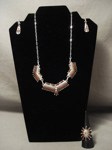 Museum Zuni 'Ravor Coral' Sterling Native American Jewelry Silver Necklace Ring Earrings-Nativo Arts