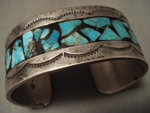 Mystical Vintage Navajo 'Turquoise Brick' Native American Jewelry Silver Bracelet-Nativo Arts