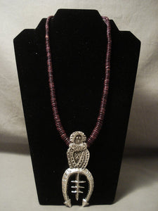 Mystique Vintage Navajo 'Kachina Maiden' Purple Spiny Oyster Native American Jewelry Silver Necklace-Nativo Arts
