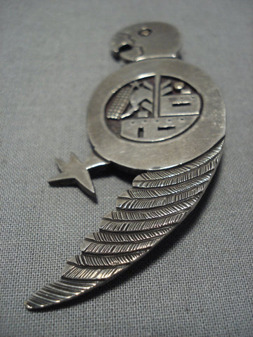 Native American Important Vintage Santo Domingo Joe Coriz Sterling Silver Parrot Pendant Old
