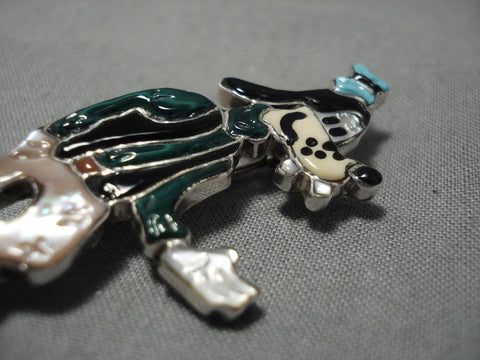 Native American Intricate Detailed!! Zuni Turquoise Coral Sterling Silver Goofy Pin Pendant-Nativo Arts