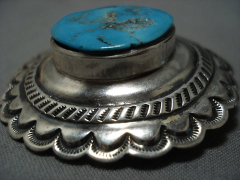 Native American Jewelry Important Iule Family Vintage Navajo Turquoise Sterling Silver Pin Old-Nativo Arts