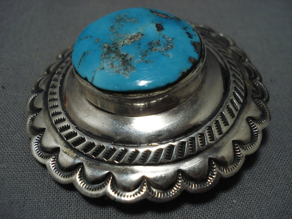 Native American Jewelry Important Iule Family Vintage Navajo Turquoise Sterling Silver Pin Old