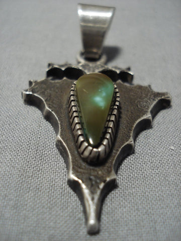 Native American Jewelry Important Tom Jackson High Grade Damale Turquoise Sterling Silver Pendant-Nativo Arts
