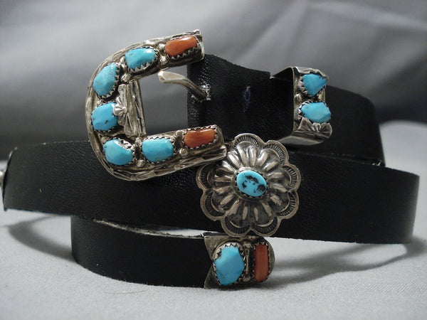 Native American Jewelry Rare Vintage Navajo Angie Cheama Turquoise Coral Sterling Silver Belt-Nativo Arts