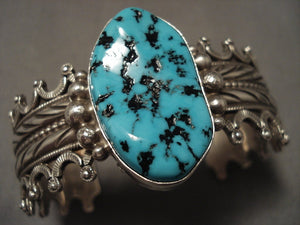 Native American Jewelry Silver Crown Vintage Navajo Turquoise Bracelet-Nativo Arts